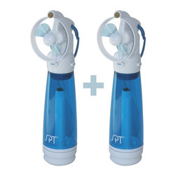 "SPT Appliance - Personal Hand-Held Misting Fan - Set of 2 - Child proof blades . Refreshingly powerful. Ultra fine continuous mist . Protective shroud to keep blade from damage. The mist is delivered in front of the blade vs. behind it. Carabineer for easy carrying . Easy to push mist button . Sliding on/off switch . Pack of 2This revolutionary hand-held misting fan uses a pressurized tank to deliver a continuous ultra fine mist through a USA made brass and stainless steel mist nozzle. Nozzle is strategically placed and angled in front of the fan to optimize the air stream without interference from the blade. With the mist delivered in front of the blade vs. behind it, it keeps the mist from spinning off the fan blade in large wet droplets giving you the best personal cooling experience available. To activate the mist cooling, simply pump the ""EZ pump"" then just push the mist button. The fan is activated by sliding the on/off switch. The fan takes 2 AA batteries (not included)."