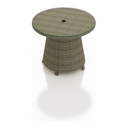 Forever Patio - Hampton Radius Wicker High Coffee Table, Heather Wicker - The Forever Patio Hampton Radius Modern Outdoor Wicker High Coffee Table (SKU FP-HAMR-HCT-HT) provides an easy-to-reach surface for food and drink while relaxing on the Hampton collection's curved seating. The UV-protected, chocolate-colored wicker sports a flat woven design, creating a contemporary look with clean lines. Each strand of this outdoor wicker is made from High-Density Polyethylene (HDPE) and is infused with its rich color and UV-inhibitors that prevent cracking, chipping and fading ordinarily caused by sunlight. This modern patio coffee table is supported by thick-gauged, powder-coated aluminum frames that make it more durable than natural rattan. A tempered glass top is included with this table, adding a touch of modern style to your outdoor dining table.