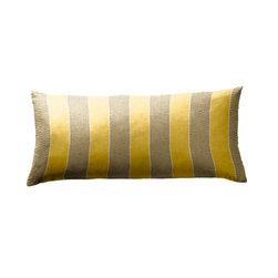 Yellow and Grey Thick Stripe Lumbar Pillow - Loom Decor Lumbar Pillow in Its Electric fabric.