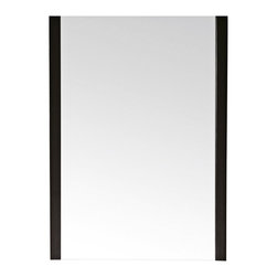 """Lamps Plus - Contemporary Avanity Loft 23"""" Wide Dark Walnut Wall Mirror - This rectangular wall mirror is ideal for contemporary urban living. A solid birch frame in walnut finish extends down and covers only the two sides of the mirror creating a distinctive design that will have people talking. A wood cleat at the back allows for easy hanging. Solid birch frame. Walnut finish. Wood cleat at back for hanging. 31 1/2"""" high. 23"""" wide. 1 1/4"""" deep. Hang weight is 25 lbs. Glass only is 20 1/4"""" wide and 31 1/2"""" high.  Solid birch frame.    Walnut finish.   Wood cleat at back for hanging.   31 1/2"""" high.   23"""" wide.   1 1/4"""" deep.  Hang weight is 25 lbs.    Glass only is 20 1/4"""" wide and 31 1/2"""" high."""