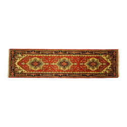 Manhattan Rugs - Free-Pad New Red Persian Tribal Designs Hand Knotted Wool Serapi Oriental Heriz - Heriz is situated in the northwestern part of Iran (Persia).  Though the term covers Hand knotted rugs of numerous small villages in the area, the most beautiful Rugs were woven in Heriz itself For the last 100 years, the Heriz carpet designs have basically remained the same, with only small variations in color pallets and density of the design. The late 19th Century Rug (so called Serapis) was of fewer details and softer colors and with time designs became denser with added jewel tone color pallets. The revival of the carpet industry in the late 19th Century was based on the demand of the Western markets, with America in particular. Weavers in Heriz hand knotted were asked to make carpets inspired by the Fereghan Sarouks of higher cost for consumers of more limited budgets. Even though Sarouk carpets changed style later on, Heriz weavers stayed with the geometric pattern till now.  However, Heriz was also a center of production of some of the best handmade carpets with both geometric and curvilinear floral patterns.  A special heirloom wash produces the subtle color variations that give rugs their distinctive antique look.