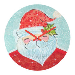 """DENY Designs - DENY Designs Cori Dantini Sweet Santa Round Clock - Talk about a small home decor accessory that makes a HUGE impact! Our affordable 12"""" Round Clock comes complete with the artwork of your choice and coordinating clock hands. Hang it on it's own or group it in a collection. Time's a tickin'!"""