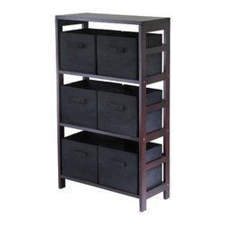 Winsome Wood - Capri Storage Shelf with 6 Fabric Baskets, Black - Our Capri M-Storage Shelf comes with 6 foldable black fabric baskets. Warm Walnut finish storage shelf is perfect for any room in your home. Use it alone as bookcase/shelf or with baskets for a complete storage function.