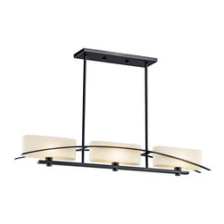 Kichler Lighting - Kichler Lighting - 42017 - Suspension - Three Light Linear Chandelier - Simplicity reigns supreme in this 3 light linear chandelier from the Suspension Collection. A gentle flowing arch sits cleanly against each fixture's perfect right angles and oval glass shades. A pure black finish adds the final elegant touch.  Overall Height: 44. Uses 3 60 watt (C/K) bulbs. For additional 12 inch stems order 2999BK. Bulb and sloped ceiling kit included.