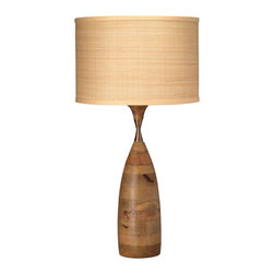 Jamie Young - Jamie Young Amphora Table Lamp - Designed with a retro vibe, Jamie Young's Amphora table lamp base adds vintage flair. A slender hourglass neck accents stacked natural wood cylinders for a stylish transitional look. Wood; Add optional Jamie Young medium drum shade; 3-way socket; Silver sockets with black switches; Accepts 150W bulb (not included); Harp included with optional lamp shade or can be added to order