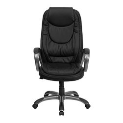 Flash Furniture - High Back Black Leather Executive Swivel Office Chair - This Executive Office Chair will provide you comfort while working at home or in the office. The double padded seat and back are sure to please you as you complete your daily tasks. The titanium nylon base with black caps prevents feet from slipping. Choose this black leather Office Chair from Flash Furniture when you want comfort and a modern update.