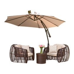 Great Deal Furniture - Key West Outdoor Cantilever Patio Umbrella Canopy, Tan - The innovative design of the Key West Cantilever Sun Canopy makes this piece a perfect shade solution for you and your guests. The height and direction of the canopy covering are both easily adjustable with the turn of a handle, giving you personalized shade to fit your needs. This canopy comes complete with a base that the pole can easily fit into, creating a sturdy foundation for the structure. Function and form go hand in hand with this durable piece, designed to give you all of the benefits of being outdoors at no cost to comfort.