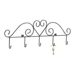 Renovators Supply - Hooks Wrought Iron Black Key Hook Heart Rack 31 1/4W x 11H '' - Iron Key Hook. Heart Motif Key Rack. Cast wrought iron. 31 1/4 in. wide x 11 in. high x projects 1 3/4 in.  Includes 5 hooks that are welded on.