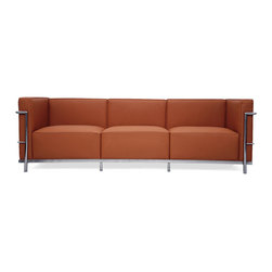 """IFN Modern - Le Corbusier LC3 Style Grand Sofa-Brown - 100% Italian Leather - The original Le Corbusier Sofa set collection was designed for the prestigious Maison La Roche house in Paris, France in the year 1928. This design is a modernist take on the traditional club chair.  This collection varies in a smaller version known as the LC2 and a larger version known as the LC3 which is considered to be more functional for practical living purposes. Exceptional in comfort, Le Corbusier often thought of his pieces as """"cushion baskets."""" An intriguing quality of the LC2 is the externalized metal frame which offers support to the base and extends as the legs and runs the entire length of this beautiful piece. The LC2 is not only attractive in a forward facing view- the metal frame work extends into design detail from the sides and back as well allowing for placement in any given area of a room. This is a quality, highly detailed reproduction of the original Le Corbusier LC3 Grand Sofa. â— 100% Italian leather in Brownâ— Fully upholstered in your leather grade of choice, including all sides, back and detailing; not Leather Match, Bonded Leather etc.â— Frame is constructed of Stainless steel for stronger support and durable chip resistanceâ— All joints are fully welded, grind, sealed and sandedâ— Adjustable leveling floor protecting foot-capsâ— Multi-density, CA-117 compliant cushions wrapped in Dacron polyester battingâ— Reinforced bottom seat cushions for firm, long-lasting comfortâ— Hardwood box frame construction"""