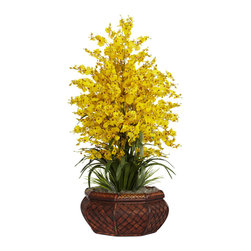 Nearly Natural - Nearly Natural Large Dancing Lady with Round Vase Silk Arrangement in Yellow - This symphony of beautiful flowers will be a popular addition to any flower enthusiast's collection. From its numerous and cheerful blossoms to its lush collection of curved leaves to its decorative planter, this silk flower arrangement is as easy to look at as it is to take care of (no real need to water it _ it practically tends itself). Whatever the occasion or decor, this Large Dancing Lady is a graceful addition.
