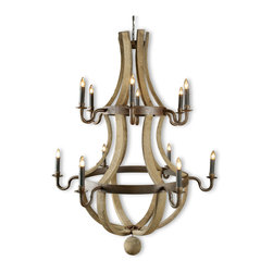 Kathy Kuo Home - Sejour French Country Natural Oak 12 Light Chandelier - Bring French Country charm to your chateau with this impressive wine barrel candelabra chandelier. Reclaimed white oak staves have an antique wax finish for a uniquely individual piece. Dark brown rusted iron hoops hold twelve luminous lights for your romantic rendezvous.