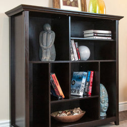 WyndenHall - Halifax Dark American Brown Crazy Cube Bookcase & Storage Unit - Add a classy storage option to your living space with this dark brown cube bookcase. It features eight spaces for showing off your book collection or other knickknacks. These spaces are uneven to add a nice visual appeal to the piece.