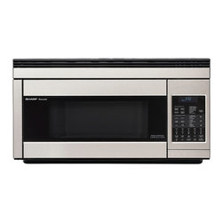 Sharp - 1.1 CF, 850 Watt OTR Convection Microwave; Stainless - 850-watt over the range convection microwave oven with 1.1 cu. ft. capacity|13 inch ceramic turntable with on/off option|7-digit, interactive, 2 color display|25 automatic settings|CompuBroil, CompuRoast, CompuBake automatically compute broiling, roasting, and baking times/temperature settings|Built-in exhaust systems comes with hood light and fan|Smart and Easy sensor settings determine times and power levels|High rack included for two-level baking|Low rack may be used for baking, roasting or broiling|Temperature control 100��, 150��, 275 - 450��F in 25�� increments|  sharp| r1874t| r-1874t| r 1874t| microwave| oven| over the range| 1.1 cu. ft.| 850w| 850 watt| turntable| ceramic| lcd display  Package Contents: stainless steel microwave|turntable|hardware|manual|warranty  This item cannot be shipped to APO/FPO addresses  Sharp will no longer take back any Sharp product as a DOA.� This includes, TV, A/V Products, and any Sharp Appliances.� Please call Sharp at 1-800-BESHARP for service details.� We will not be able to accept DOA returns on this item.� Please accept our apologies.