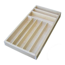 "Orderly Drawer - Orderly Drawer Organizer, Susan's Design - Susan commissioned us to build her a drawer organizer. We added her design to our product line, and it quickly became one of our best sellers. The configuration that we're selling through Houzz is ideal for 10"" wide drawers and can hold utensils up to 9"" in length. The front-to-back section accommodates utensils up to 8"" in length. The side-to-side section accommodates utensils up to 9"" in length. Our unique slot and divider system lets you adjust the width of the individual compartments."
