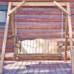Montana Woodworks - 88 in. Lawn Swing with A-Frame - Heirloom quality. Rustic timber frame design. Made from solid U.S. grown wood. Exterior stain finish. Made in USA. Minimal assembly required. 88 in. L x 75 in. W x 77 in. H (170 lbs.). Warranty. Use and Care InstructionsImagine the rustic beauty of this lawn swing gracing your yard, deck or lawn. Swing away the tensions of your day while enjoying the elegance of rustic lawn furniture. This lawn swing is designed to last for generations.