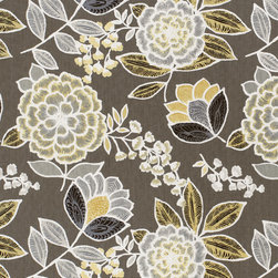 Monterey Collection - Flat Shots - Sulu printed fabric in Charcoal (F913010) from Thibaut's Monterey Collection