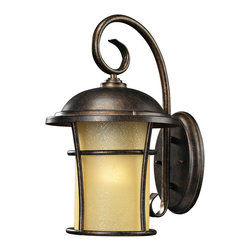 Elk Lighting - Elk Lighting 45035/1 Bolla Vista 1 Light Outdoor Sconce in Regal Bronze - 1 Light Outdoor Sconce in Regal Bronze belongs to Bolla Vista Collection by Elk Lighting With A Tuscan Villa Influence, This Outdoor Collection Has A Single Cylindrical Amber Glass That Casts A Warm Glow Adding Charm To Your Outdoor Ambiance.  Its Flared Frame Has An Unencumbered Design With A Regal Bronze Finish.  Sconce (1)