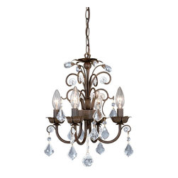 Vaxcel - Chandelier w/ Crystal Drops - Vaxcel Lighting MN-CHU016AW 4 Light Rovinia Mini Chandelier This item by Vaxcel Lighting has an aged walnut finish. For use with four 60-watt clear inca