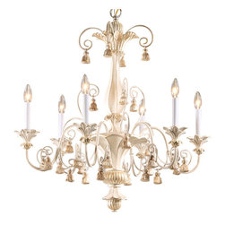 """Inviting Home - Wood Chandelier with Tassels - Italian carved wood chandelier with tassels motif in antique white and gold leaf finish 30-1/4"""" x 32""""H hand-crafted in Italy Six light carved wood chandelier is hand-crafted by Italian masters. Chandelier has a hand-applied antique white finish. Tassels and accents finished in antiqued gold leaf. Arms of the chandelier and scrolling are executed from wrought iron. UL approved - dry location; hardwire; 6x 60W max. candelabra bulds; bulbs not included. Approx. 6 feet of chain/wire drop provided. Handcrafted in Italy."""