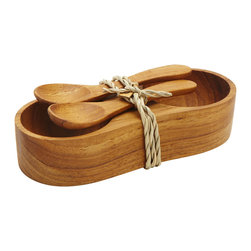 Teak Salt & Pepper Tray Set - Stylish service for salt crystals and freshly ground pepper. This cute addition to any table makes a great small gift for a dinner party.