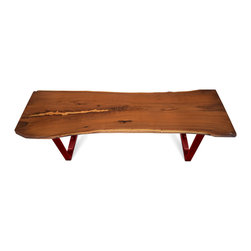 """Etz & Steel - """"Empress"""" Walnut Live-Edge Table with Steel Base, Red - A stunning example of walnut's texture and color. We expertly filled a natural gap in the wood with specially colored pine lumber, creating an incredibly unique 'scar' in the wood. Regal and beautiful. One solid walnut slab; an infinite amount of character."""