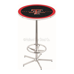 Holland Bar Stool - Holland Bar Stool L216 - 42 Inch Chrome Texas Tech Pub Table - L216 - 42 Inch Chrome Texas Tech Pub Table  belongs to College Collection by Holland Bar Stool Made for the ultimate sports fan, impress your buddies with this knockout from Holland Bar Stool. This L216 Texas Tech table with retro inspried base provides a quality piece to for your Man Cave. You can't find a higher quality logo table on the market. The plating grade steel used to build the frame ensures it will withstand the abuse of the rowdiest of friends for years to come. The structure is triple chrome plated to ensure a rich, sleek, long lasting finish. If you're finishing your bar or game room, do it right with a table from Holland Bar Stool.  Pub Table (1)