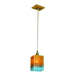 """Primo Glass - Blown Glass Pendant Light - Art Glass Lighting - Lighting - Chandelier - Beautiful one of a kind blown glass amber & turquoise pendant light handcrafted in the USA by Primo Glass. This is a custom one of a kind """" to be built """" pendant light that will have slight differences from the pendant light shown in the listing photos, and has a lead time of aprox 3 weeks. The lighting source consists of 1 standard medium base ( 100 watt max ) light socket in the center of the Jellyfish head. It will be shipped with a 60 watt dimmable LED light bulb that will last for 20k hours or longer. All electrical components are UL listed. It also comes complete with a custom made matching glass ceiling medallion. The glass pendant itself measures aprox 4 inches wide x 6 inches tall, and also includes an additional 60 inches of adjustable cord. Primo Glass fixtures are high quality collectible works of functional art, signed by the artists, and come with a certificate of authenticity."""