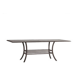 Frontgate - Palm Slatted Rectangular Outdoor Dining Table, Patio Furniture - Heavy gauge, non-corrosive aluminum frame. Finished with our specially formulated, high UV-resistant powder coating. Slatted aluminum tabletop with umbrella hole. Assembly required. The Rectangular Dining Table by Summer Classics&reg features elemental styling can mix with other collections or combine with the other pieces in the Club Collection to create an inviting outdoor room environment. Crafted from durable wrought aluminum, it's beautifully styled and designed to endure season after season. Part of the Club Collection by Summer Classics&reg.  . . .
