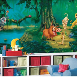 Roommates Decor - Lion King SureStrip Prepasted Mural - Hakuna matata... what a wonderful phrase! Bring the magic of Disney's The Lion King into any room in a big way with this massive wallpaper mural. Simba, Nala, Timon, Pumbaa, and Rafiki stand and play in a lush jungle setting that will add the perfect finishing touch to any Lion King-themed bedroom. The mural is easy to apply and makes a huge dramatic impact!