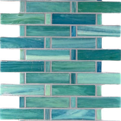 "Glass Tile Oasis - Azure Shimmer 1"" x 4"" Green Pool Frosted Glass - Sheet size:  .80 Sq. Ft.   Tile Size:  1/2"" x 1"" & 1"" x 4""   Tiles per sheet:  48    Tile thickness:  1/4""   Grout Joints:  1/8""   Recycled Components:  55%   Sheet Mount:  Paper Face    MADE TO ORDER-LEAD TIME 2 WEEKS     Sold by the sheet    - Brilliant transparent glass combed through with coordinating opaque colors  and featuring a contemporary smooth-edge. Each piece is hand-poured and unique  designed with a certain amount of variation and variegation of color  tone  texture and shade for a distinctive appearance. Our handmade process incorporates creases  wrinkles  waves  bubbles and other surface effects indicative of handmade glass  all designed to capture light and enhance the final beauty of the project."