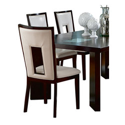 Steve Silver Furniture - Steve Silver Delano Side Chair - Sleek yet sumptuous, these chairs please the eye as much as the body. Clean lines with an unexpected cutaway and just-plush-enough vinyl upholstery make a striking style statement in your contemporary dining space.