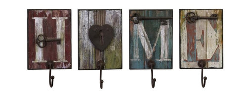 iMax - iMax Casa Wall Hooks X-4-19372 - Home is where you can hang your hat on these heartwarming, distressed, painted wood, wall hooks, set of four
