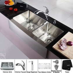 Kraus - 36 in. Farmhouse 60/40 Double Sink and Faucet with Soap Dispenser - Add an elegant touch to your kitchen with unique Kraus kitchen combo