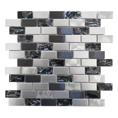 Eden Mosaic Tile - Stainless Steel and Crackled Glass Mosaic Mix, Sheet - Simply smashing! Here's an intriguing way to add brilliant texture to your bath or kitchen backsplash. The crackled appearance of the glass tiles mixed with smooth stainless steel in dual tones provides sensational contrast that truly beckons the spotlight. Samples are approximately 1/6 to 1/4 of a regular sized sheet. Please note: Sample tiles are not returnable. Only one sample per style is allowed. Only five samples may be ordered.
