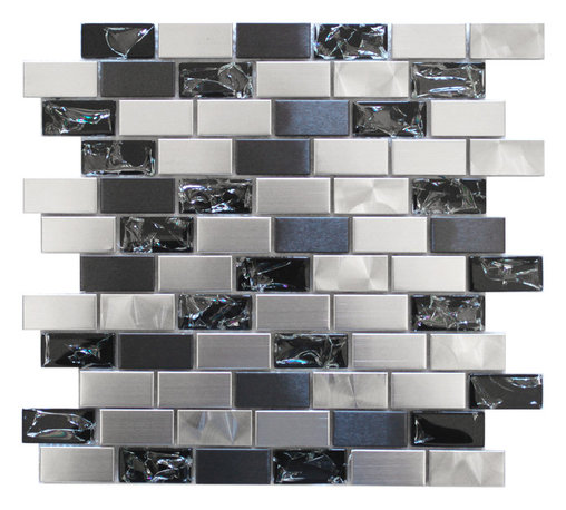 Eden Mosaic Tile - Stainless Steel and Crackled Glass Mosaic Tile - Simply smashing! Here's an intriguing way to add brilliant texture to your bath or kitchen backsplash. The crackled appearance of the glass tiles mixed with smooth stainless steel in dual tones provides sensational contrast that truly beckons the spotlight. Samples are approximately 1/6 to 1/4 of a regular sized sheet. Please note: Sample tiles are not returnable. Only one sample per style is allowed. Only five samples may be ordered.