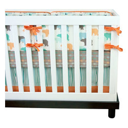Modified Tot - Baby Bedding Crib Set, Bear Camp - You won't find this limited edition outdoor themed crib set anywhere else! Muted shades of mint, orange, blue and taupe in sweet bears, arrows and wood grain.