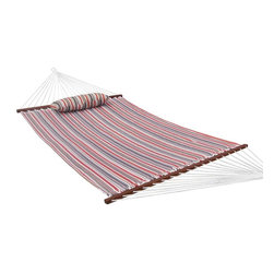 Prime Garden - Prime Garden  Quilted fabric  Hammock,Hardwood Spreader bars,Poly Fiber Stuffing - These hammocks feature a quilted polyester fabric that is dye treated for UV resistance, solid wood spreader bar, and a design that is sure to accentuate your backyard with tasteful color combinations.
