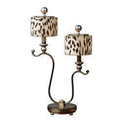 Uttermost - Uttermost 29937-1  Malawi Accent Lamp - Heavily antiqued silver with burnished details. the round drum shade is a lightly burnished cheetah print over glass.