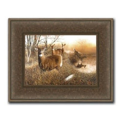 """Ervin Molnar - Welcome Gathering 20 x 28 Print - """"Welcome Gathering"""" is a wildlife canvas giclee by Ervin Molnar. We present this to you in a 3"""" espresso brown, textured rustic frame. This makes the overall framed size 20 x 28."""