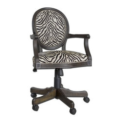 Uttermost - Uttermost - Yalena Desk Chair - 23077 - Uttermost 23077 - Solid, white mahogany wood with fluted carvings in a distressed black with dark espresso undertones featuring adjustable height and swivel castors. Comfortable seating in woven antique white and black accented by nickel nail head detail.