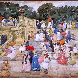 "Maurice Prendergast The Mall, Central Park Print - 16"" x 24"" Maurice Prendergast The Mall, Central Park (also known as Steps, Central Park or The Terrace Bridge, Central Park) premium archival print reproduced to meet museum quality standards. Our museum quality archival prints are produced using high-precision print technology for a more accurate reproduction printed on high quality, heavyweight matte presentation paper with fade-resistant, archival inks. Our progressive business model allows us to offer works of art to you at the best wholesale pricing, significantly less than art gallery prices, affordable to all. This line of artwork is produced with extra white border space (if you choose to have it framed, for your framer to work with to frame properly or utilize a larger mat and/or frame).  We present a comprehensive collection of exceptional art reproductions byMaurice Prendergast."