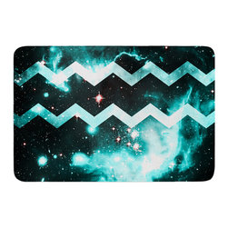 "KESS InHouse - Caleb Troy ""Blue Star Chevron"" Memory Foam Bath Mat (24"" x 36"") - These super absorbent bath mats will add comfort and style to your bathroom. These memory foam mats will feel like you are in a spa every time you step out of the shower. Available in two sizes, 17"" x 24"" and 24"" x 36"", with a .5"" thickness and non skid backing, these will fit every style of bathroom. Add comfort like never before in front of your vanity, sink, bathtub, shower or even laundry room. Machine wash cold, gentle cycle, tumble dry low or lay flat to dry. Printed on single side."