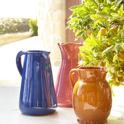 "Vasicol - Vasicol Three ""Spring"" Pitchers - Pretty to look at, nice to hold, and oh-so-versatile, this set of three vibrant pitchers offers so many options. Use them to serve beverages or hold bouquets or just arrange them as a collection on a console, shelf, sideboard, or buffet. Handcrafted of..."