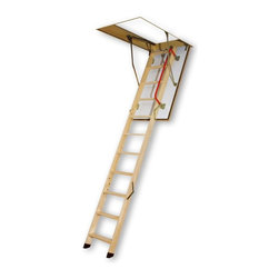 Fakro - Fakro 10.1 ft. Fire Resistant Wooden Attic Ladder - 66831 - Shop for Ladders from Hayneedle.com! Safe and easy-to-use the Fakro 10.1 ft. Fire Resistant Wooden Attic Ladder is an excellent choice for gaining access to your attic. This premium wood ladder is constructed for safety and function. This locking ladder folds down easily and a railing along the side ensures safety. About Fakro A privately owned company established in Poland in 1991 FAKRO has grown into one of the most dynamic and fastest growing companies in the world with over a 15% share of the global market and 3 300 employees. Their extensive research and development center produces a wide variety of roof windows with unique design and functionality accessories and the very latest in solar collectors. Their emphasis on health safety security and environmental impact is unmatched. For an expansive range of top-of-the-line products for all imaginable applications look to FAKRO.