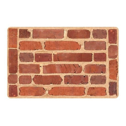 Home Decorators Collection - Framed Brick Floor Mat - The Framed Brick Floor Mat features an attractive red brick design with an ultra-soft feel. The low profile keeps it from interfering with swinging doors, while the rubber backing ensures that it will stay put. Easy care; machine wash and tumble dry. Skid-resistant rubber backing. Made of neoprene.