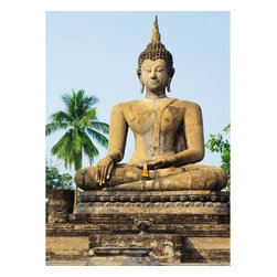 Sukhothai Wall Mural - A seated Buddha creates an impressive centerpiece in this photographic wall mural.