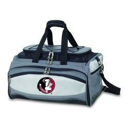 "Picnic Time - Florida State Buccaneer Cooler And Barbecue Set - The Buccaneer is a Picnic Time original design and the ultimate tailgating cooler and barbecue set in one! Don't be fooled by other similar looking items on the market. Only Picnic Time's Buccaneer features a PVC cooler that conveniently nests inside the compartment that houses the portable BBQ. The tote can carry the BBQ and a fully-loaded cooler at the same time! This patented, innovative design features a large insulated and fully-removable, water-resistant cooler that measures 16 x 8 x 7"" and holds up to 24 12-oz soda cans. Unzip the cooler from the main tote to access the portable charcoal barbecue grill that's included. The cooler has two carry straps on either side, and features a mesh pocket on the interior lid that fits a large ice pack/gel pack. The Buccaneer also features an adjustable shoulder strap with comfort pad, a reinforced waterproof base, three large zippered exterior pockets to store personal effects, padded carry handles, and a stretch cargo cord on the top of the tote to carry a blanket or towel. Included in the tote are: 1 portable charcoal BBQ grill with lid (16.7 x 10.8 x 5.1""), one black drawstring bag to hold the grill, and three stainless steel tools with aluminum handles and non-slip thumb grips: 1 large spatula featuring a built-in bottle opener, grill scraper, and serrated edge for cutting, 1 pair of tongs, and 1 BBQ fork. Don't be caught without the Buccaneer at your next tailgating party!; College Name: Florida State; Mascot: Seminoles; Decoration: Embroidered; Includes: 1 BBQ grill with lid 1 Large spatula with serrated edge 1 Pair tongs 1 BBQ fork 1 Removable, insulated cooler tote"