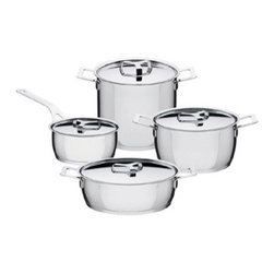 """Alessi - Alessi Pots&Pans Set - Eight piece set in 18/10 stainless steel, mirror polished, with radiating bottom in thick aluminum covered in stainless steel. Set comprised of one stockpot, one casserole with two handles, one low casserole with two handles, one saucepan, and four lids. Suitable for cooking with induction, gas, electric hob, ceramic glass hotplate and in the oven. Dishwasher safe. Jasper Morrison took up the challenge of representing """"potness"""" by developing his rigorous, linear and detailed style (for example the flared edge for pouring, the graduated scale inside the pots, the cover knob that lets you lift it with a wooden spoon) to produce something of a masterpiece in Super & Popular design. Manufactured by Alessi. Designed in 2006."""