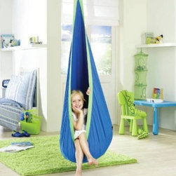 La Siesta Joki Hanging Crows Nest Soft Fabric Hammock Swing, Blue - The Joki Hanging Crow's Nest swing visually grabs you and provides a cool retreat for little ones. The manufacturer also notes that it can provide a calming sensation for children with special needs.