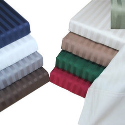 Bed Linens - Egyptian Cotton 400 Thread Count Stripe Duvet Cover Sets Full/Queen White - 400 Thread Count Stripe Duvet Cover Sets